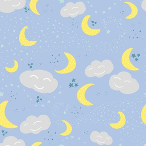 Vector Moon, stars and clouds pattern