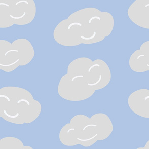 Vector Happy Clouds on blue seamless pattern