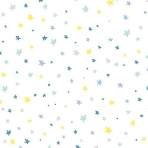 Vecor tiny stars pattern in yellow, blue, teal, aqua, white