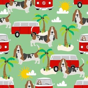 basset hound dog beach hippie fabric - basset hound fabric, beach fabric, hippie fabric - green