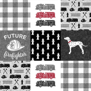 firefighter wholecloth - patchwork - grey plaid future firefighter C19BS