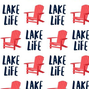 lake life - adirondack chair - red and blue - LAD19