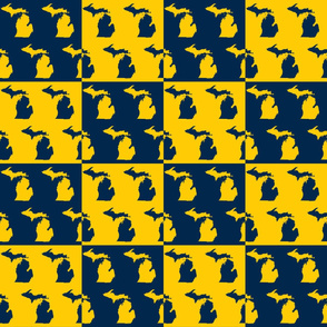 Michigan Maize And Blue Cheater Quilt