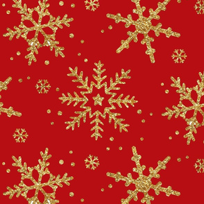 Gold Snowflakes || Red