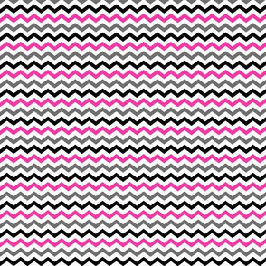Chevron - Hot Pink, Grey & Black