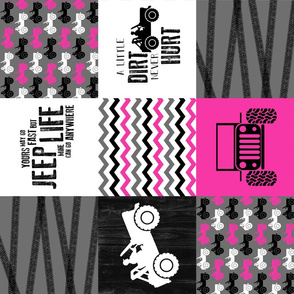 Jeep//A little Dirt Never Hurt//Hot Pink - Wholecloth Cheater Quilt - Rotated