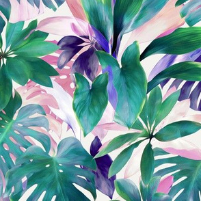 Pastel Summer Tropical Emerald Jungle small