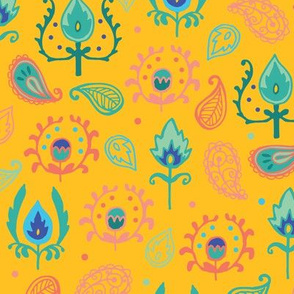 Yellow Ikat Doodles