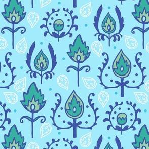 Light Blue Ikat Doodles