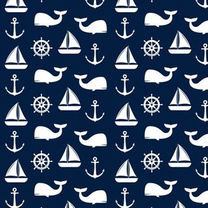 (small scale) nautical on navy - whale, sailboat, anchor,  wheel LAD19BS
