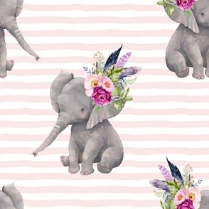 "8"" Lilac Boho Elephant with Pink Stripes"