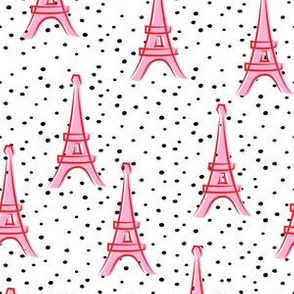 Eiffel Tower - take me to Paris - pink and red polka dots LAD19