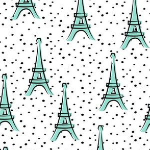 Eiffel Tower - take me to Paris - aqua polka dots LAD19