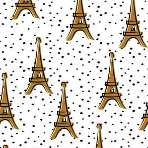 Eiffel Tower - take me to Paris - gold polka dots LAD19