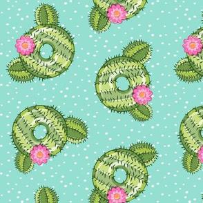 cactus donuts - doughnuts - summer - aqua with polka dots - LAD19