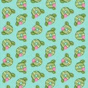 (small scale) cactus donuts - doughnuts - summer - aqua with polka dots - LAD19
