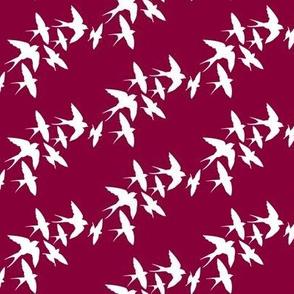 murmuration v2 (white on burgundy)