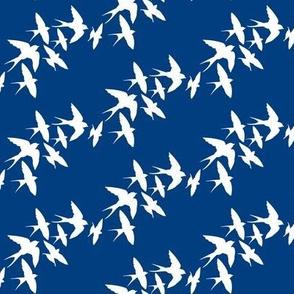 murmuration v2 (white on navy)