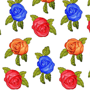 Multicolored Roses on White