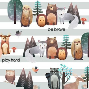 Woodland Critters (grey stripe) – Life in the Forest w/ words, SMALLER scale