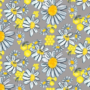 BEES AND FLOWERS GREY WKS