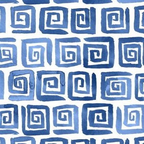 Watercolor Greek Key  - Blue