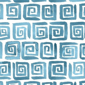 Watercolor Greek Key  - Blue Gray
