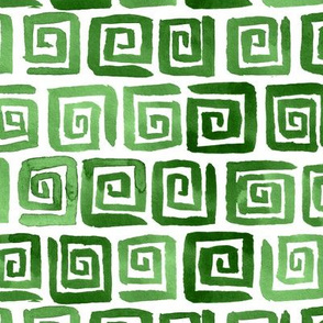 Watercolor Greek Key  -  Green