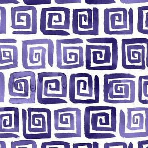 Watercolor Greek Key  - Purple