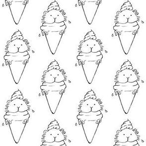 Guinea pig cone icecream b&w