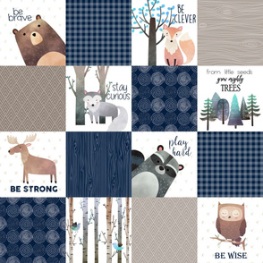 Woodland Critters Patchwork Quilt - Bear Moose Fox Raccoon Wolf, Navy + Tan Design GingerLous