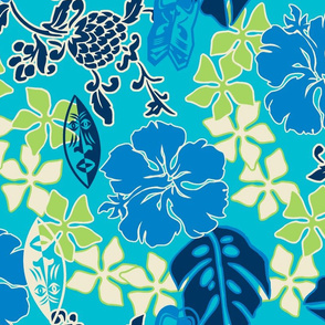 Tropical Tiki Whimsical Hawaiian Retro Floral - Turquoise