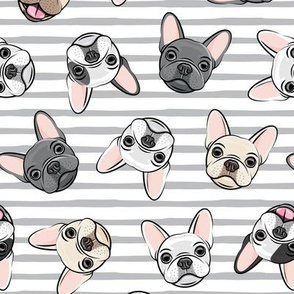 all the frenchies - French bulldog dog breed frenchie - toss on grey stripes - LAD19