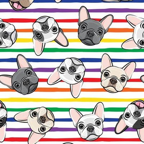 all the frenchies - French bulldog dog breed frenchie - toss on rainbow stripes - LAD19