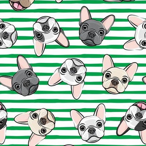 all the frenchies - French bulldog dog breed frenchie - toss on green stripes - LAD19
