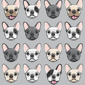 all the frenchies - French bulldog dog breed frenchie - grey - LAD19