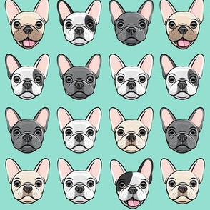 all the frenchies - French bulldog dog breed frenchie - aqua - LAD19