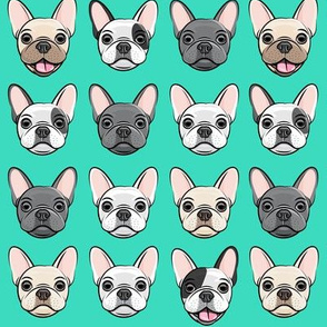 all the frenchies - French bulldog dog breed frenchie - teal - LAD19