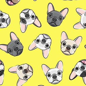 all the frenchies - French bulldog dog breed frenchie - toss on yellow - LAD19