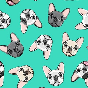 all the frenchies - French bulldog dog breed frenchie - toss on teal - LAD19