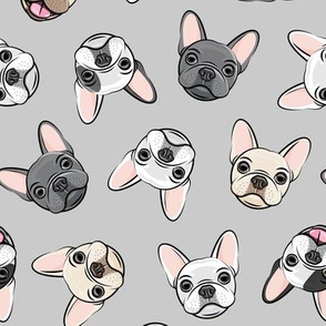 all the frenchies - French bulldog dog breed frenchie - toss on grey - LAD19
