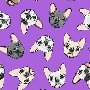all the frenchies - French bulldog dog breed frenchie - toss on purple - LAD19