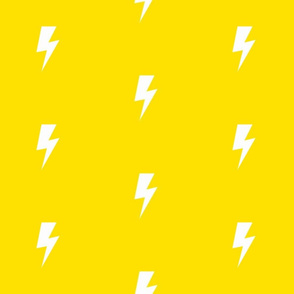 White Lightning Bolt on Yellow