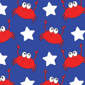 Red, White, and Blue Crabs and Stars