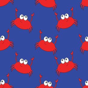 Cute Crabs on Blue