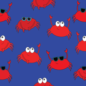 Funny Crab Mix on Blue