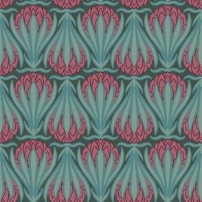 Art Deco Protea - Turquoise & Pink