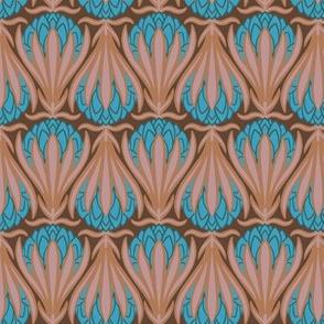 Art Deco Protea - Peach & Blue