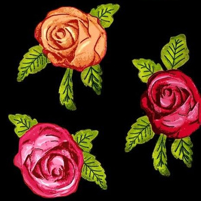 Multicolored Roses on Black / Red Pink Orange