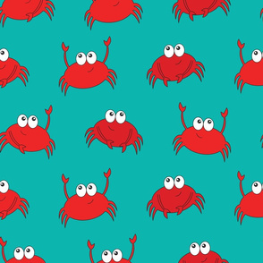 Teal Cute Crab Dance